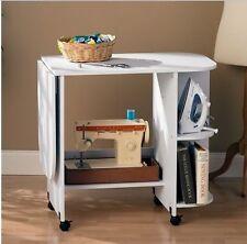 White Rolling Sewing Machine Craft Table Folding Desk Storage Shelves Art New