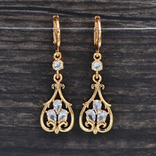 Fashion Women Gold Plated Clear CZ Cubic Zirconia Palace Flower Earrings Jewelry