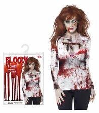 Halloween One Size Fancy Dress Costume Bloody Nurse T-shirt Ladies Zombie Party
