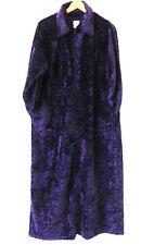 Delicates Robe Cover-Up 1/2 Zip Purple Long Sleeve Velour Velvet Pockets Size M