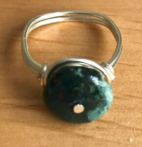 Handmade Silver Plated Copper Wire Size P Ring with Zoisite Disk Bead