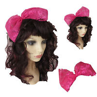 80s Fancy Dress 80s Accessories Hot Pink Hair Bow Large Lace Hair Bow Alice Band