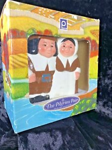 Publix Pilgrim Pair Thanksgiving / Holiday Napkin Holder Orig Box Fall Colors