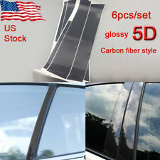 6PCS Carbon 5D Car Door Pillar Posts Covers Trims Fit for Honda Civic 2006-11 US