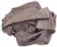 New Gucci 165903 XL Brown Wool Silk GG Guccissima Logo Scarf Shawl Wrap