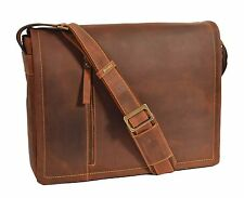 Da Uomo Messenger Tan in Pelle Borsa iPad Laptop Vintage Rugged Spalla Borsa Record