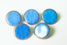 5 vintage blue glass buttons/ patterned glass/silver/gold lustre 12  mm.