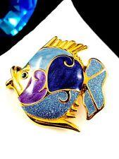PERFECT CRUISE P.S. CO. 1999 AMETHYST PURPLE ENAMEL BLUE GLITTER ANGEL FISH PIN