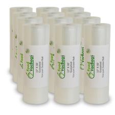 "12 Expandable FoodSaver Compatible Vacuum Sealer Bags 11""x50' Heat Seal Rolls"