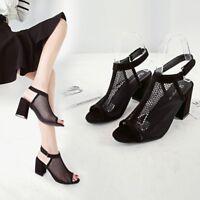 Womens Ladies Block High Heel Shoes Mesh  Ankle Strap Peep Toe Chunky Sandals