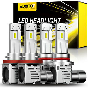 AUXITO 9005 H11 LED Combo Headlight Bulb Kit High Low Beam 6500K Bright White D4