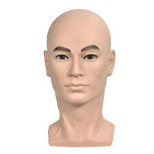 Testa di manichino maschio con testa calva per parrucche, occhiali, produzione