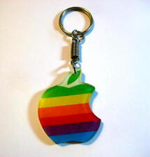 VINTAGE 1980's RETRO APPLE COMPUTER RAINBOW LOGO KEY CHAIN