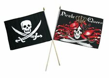"12x18 12""x18"" Wholesale Combo Pirate Calico Jack & Queen Pirate Stick Flag"