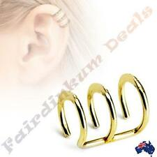 316L Surgical Steel Gold Ion Plated Triple Closure Cartilage Ring
