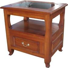 Solid Mahogany Side Table / Lamp Table with glass top 1 storage drawer NEW T015