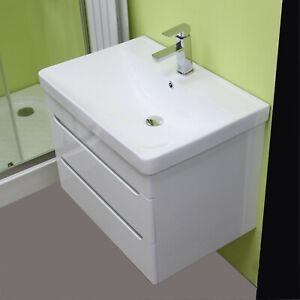 Vanity Unit Cabinet Basin Sink Bathroom Wall Hung Mounted Extra DEEP Bowl 700 mm