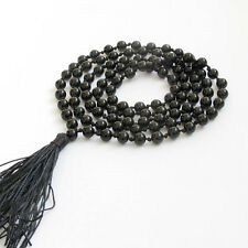 Black Agate Gemstone Tibet Buddhist 108 Prayer Beads Mala Necklace Knot---6mm