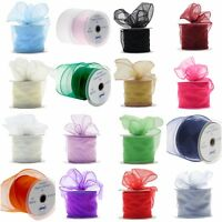70mm wired organza ribbon flowers wedding 2 5 20m lengths CHOOSE COLOUR