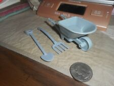 3 Gardening Tools . Wheelbarrow.Pitch Fork .Shovel/Thick Plastic/Not Marked