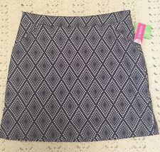 CORAL BAY GOLF Skort Skirt Shorts Sz 8 Blue White Polka dots Geometric NWT