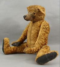 24in Antique Early 20thC Jointed Short Mohair Curved Arms Humpback Teddy Bear Nr