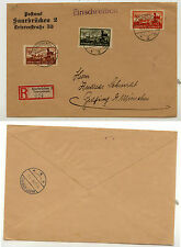 Saar   B44-46  on  cover  1934  registered     MS0205