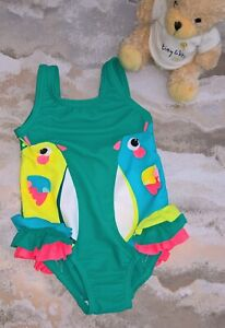NEW Little Girls M&S Green Parrot UPF 50+ Swimming Costume Age 12-18 Months