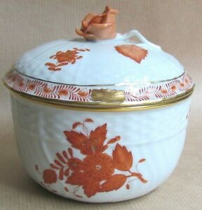 HEREND APPONYI CHINESE BOUQUET AOG 1662 LIDDED SUGAR BOWL ROSE  FINIAL (Ref7233)
