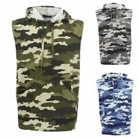 Men's Sleeveless Hoodie Top T Shirt Camouflage Military Gym Muscle Vest Singlet