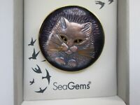 Vintage Sea Gems UK Amethyst Jet Enamel Pussy Cat Gold Animal Brooch Pin