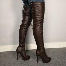 Platform High Heel Over Knee High Thigh Boots Sexy Zip Clubwear Bar Stiletto