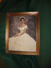 1950's Bride Portrait Handtinted/Painted  Oil Photo of Woman  Exquisite