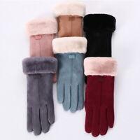 Women's Sheepskin Winter Windproof Gloves Fur Ladies Soft Gloves Warm Leather