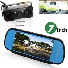 "7"" LCD Car Rear View In-mirror Monitor+ 3in1 Radar Parking Sensor Backup Camera"
