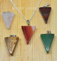 Brazilian Agate Pendulum Pendant Chain Necklace Reiki Healing Ladies Girls Gift