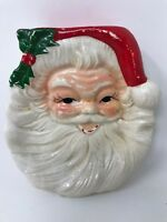 """Vintage  5.5"""" Santa Claus Ceramic Candy Dish Wall Hanging Plate Plaque"""