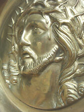 BEAUTIFUL Solid Brass JESUS with CROWN OF THORNS Plaque / Plate