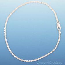 ".925 Sterling Silver Bracelet Anklet 2mm 9"" Diamond Cut Dc Rope Solid"