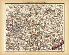 Antique map Middle Germany Saxony and Thuringia 1936