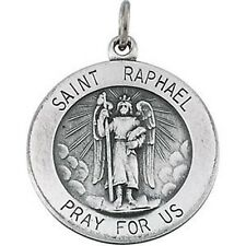 "MRT St Raphael Archangel Sterling Silver .925 Medal W 18"" Necklace Gift 3/4"""