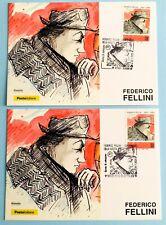 Federico Fellini-Postcards cancellation Rome Cinecitta and Rimini Poste Italiane 2020