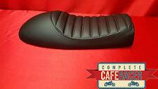 LS10 cafe racer asiento plano Tracker Brat Scrambler acabado en color negro de cuero artificial
