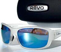 NEW* REVO BEARING Matte Clear w POLARIZED BLUE WATER Lens Sunglass 4057 09 BL