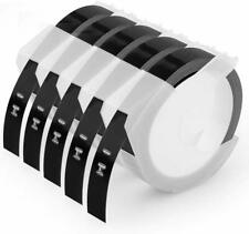 5 Rolls 520109 Compatible DYMO 3/8'' Embossing Label Maker Tape White on Black.