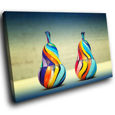Colourful Retro Pear Abstract Canvas Wall Art Cool Picture Prints