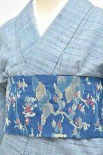 =Japanese Vintage Kimono + Nagoyaobi / wool / 64.1inc./ Blue 3nfuji28970