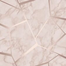 FRACTAL GEOMETRIC MARBLE WALLPAPER ROSE GOLD / PINK - FINE DECOR FD42264