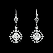 2CT Cushion Created Diamond Halo Drop Dangle Earrings 14k White Gold