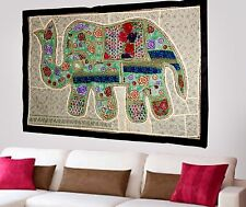 HANDMADE ELEPHANT BOHEMIAN PATCHWORK WALL HANGING EMBROIDERED TAPESTRY INDIA X56